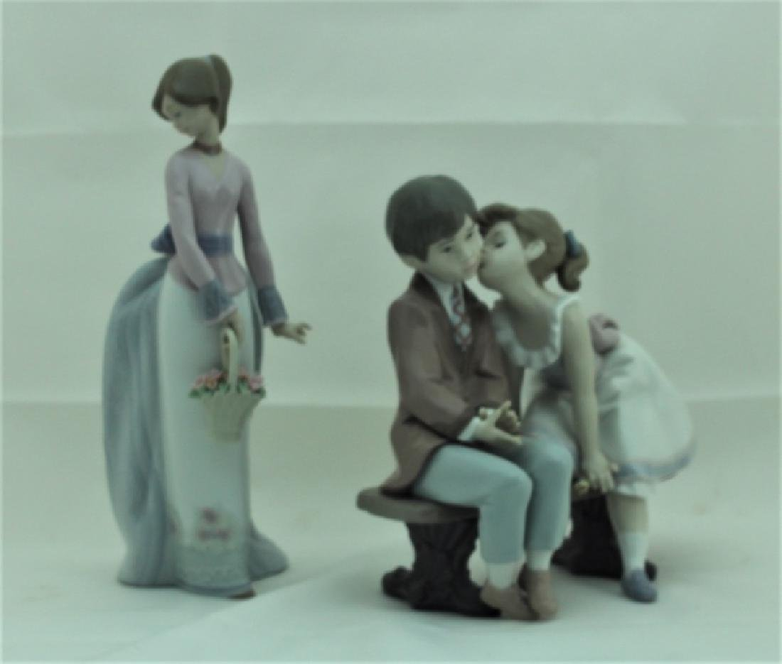 (2) Lladro Figures #7622 & #7635 Girls w Flowers - 2