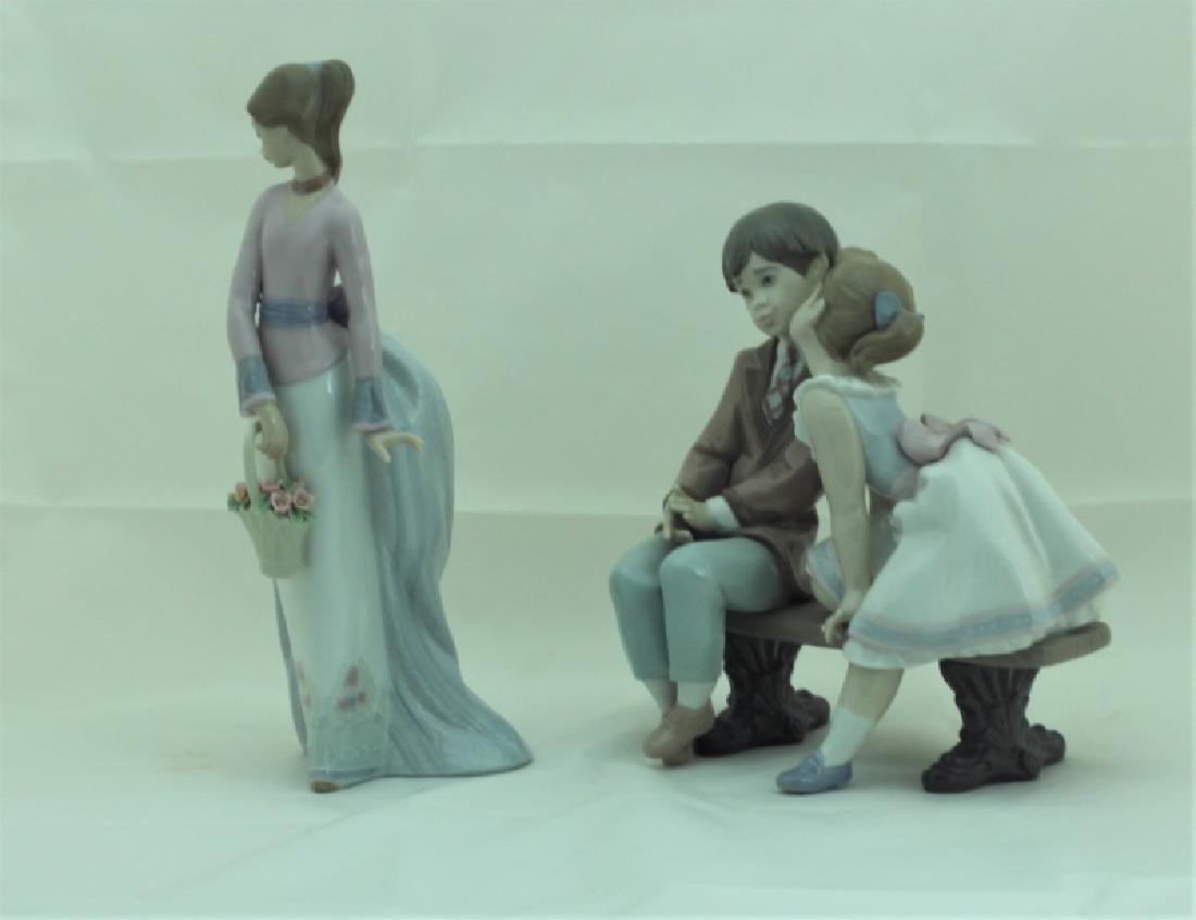 (2) Lladro Figures #7622 & #7635 Girls w Flowers - 3