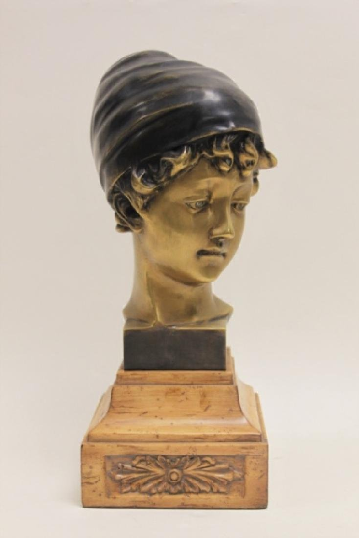 Maitland Smith Art Nouveau Bronze Bust Young Girl