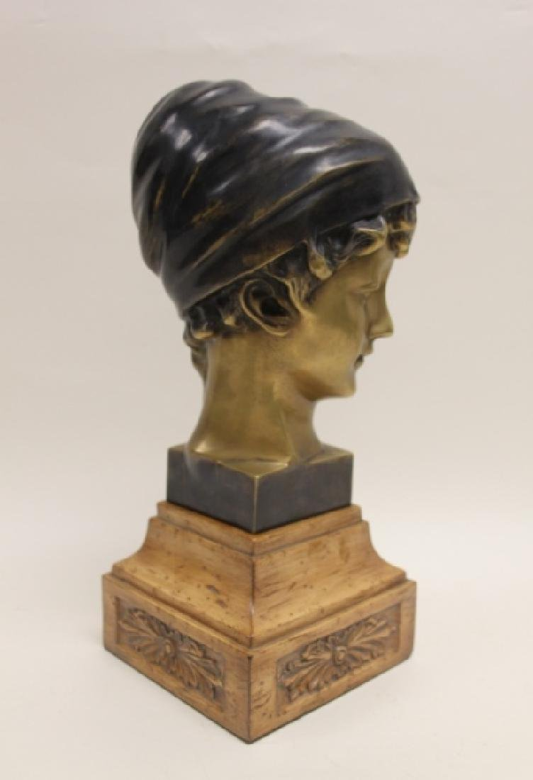 Maitland Smith Art Nouveau Bronze Bust Young Girl - 3
