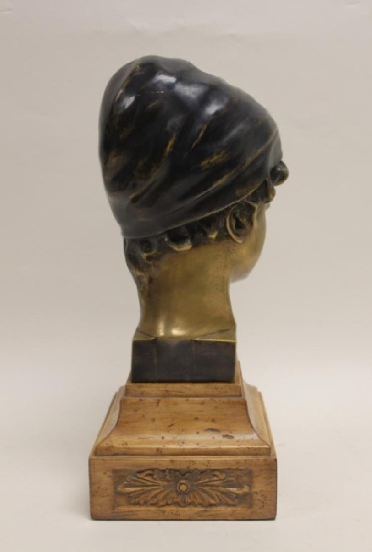 Maitland Smith Art Nouveau Bronze Bust Young Girl - 4