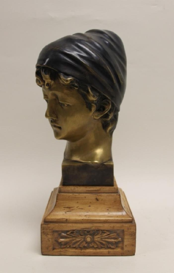 Maitland Smith Art Nouveau Bronze Bust Young Girl - 6