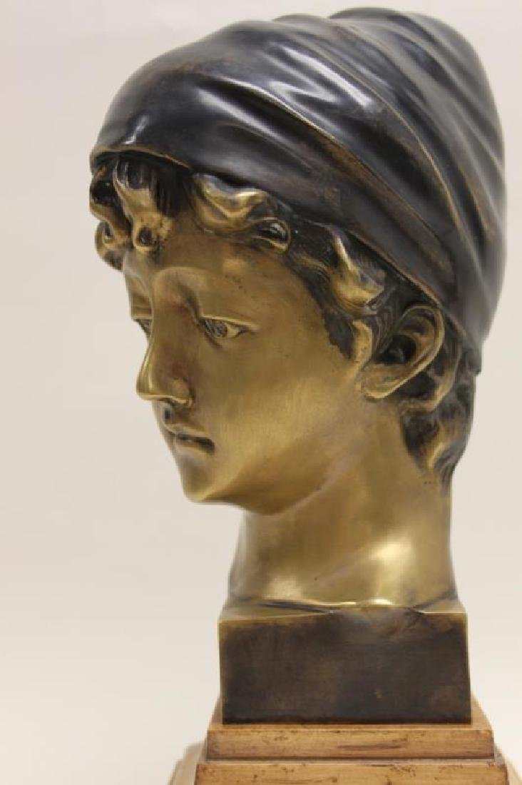 Maitland Smith Art Nouveau Bronze Bust Young Girl - 7