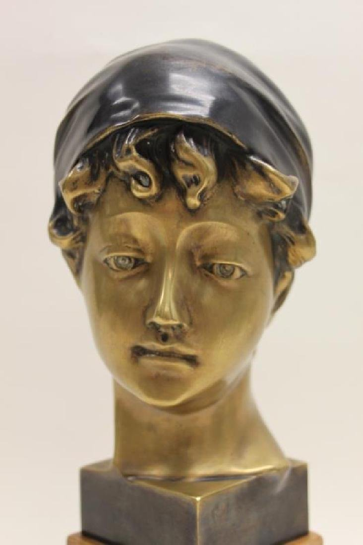 Maitland Smith Art Nouveau Bronze Bust Young Girl - 8