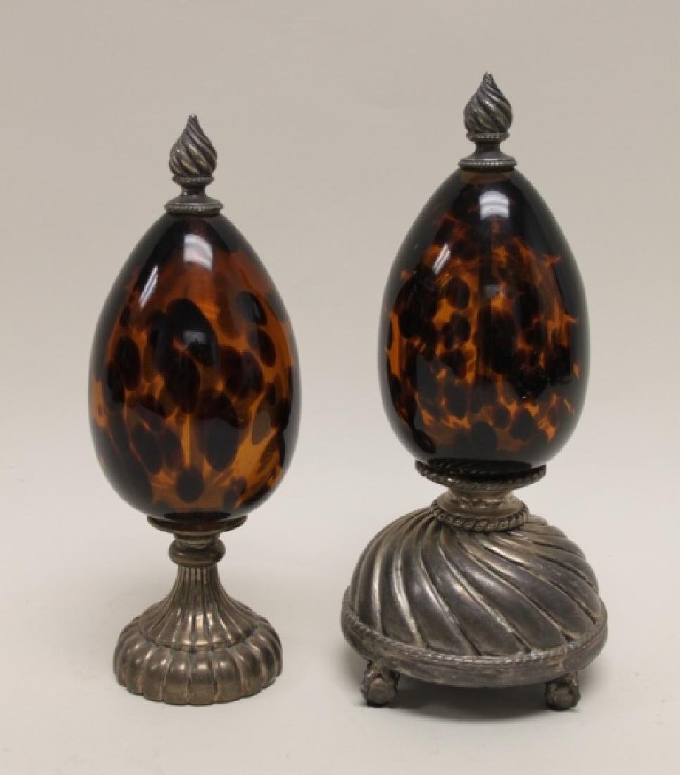 (2)Maitland Smith Tortoise Shell Glass Garnishures