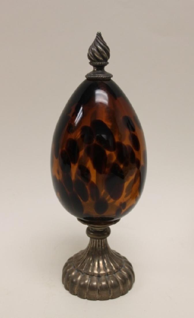 (2)Maitland Smith Tortoise Shell Glass Garnishures - 2