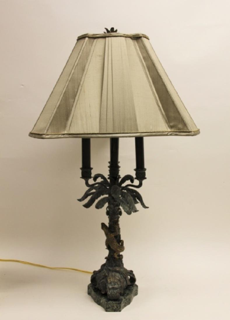 Maitland Smith Bronze Palm Tree & Lizard Lamp