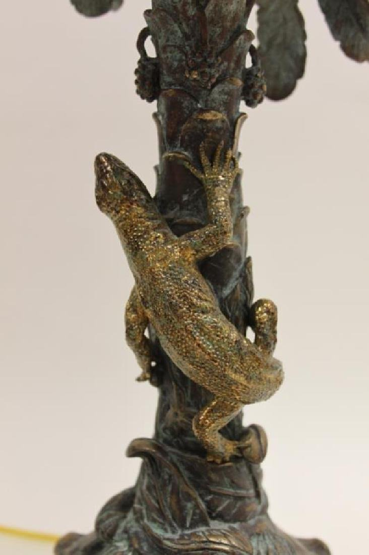 Maitland Smith Bronze Palm Tree & Lizard Lamp - 6