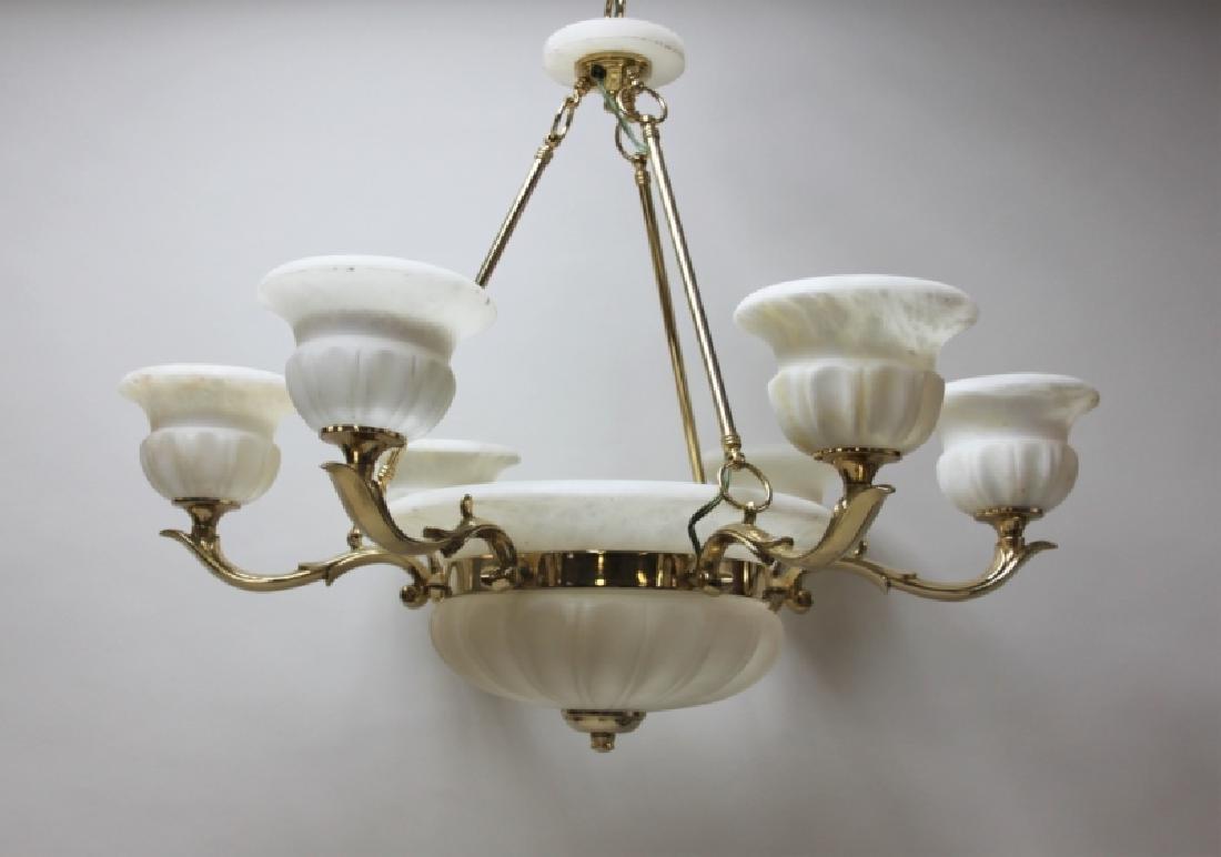 Art Deco Alabaster & Brass 5 Light Chandelier