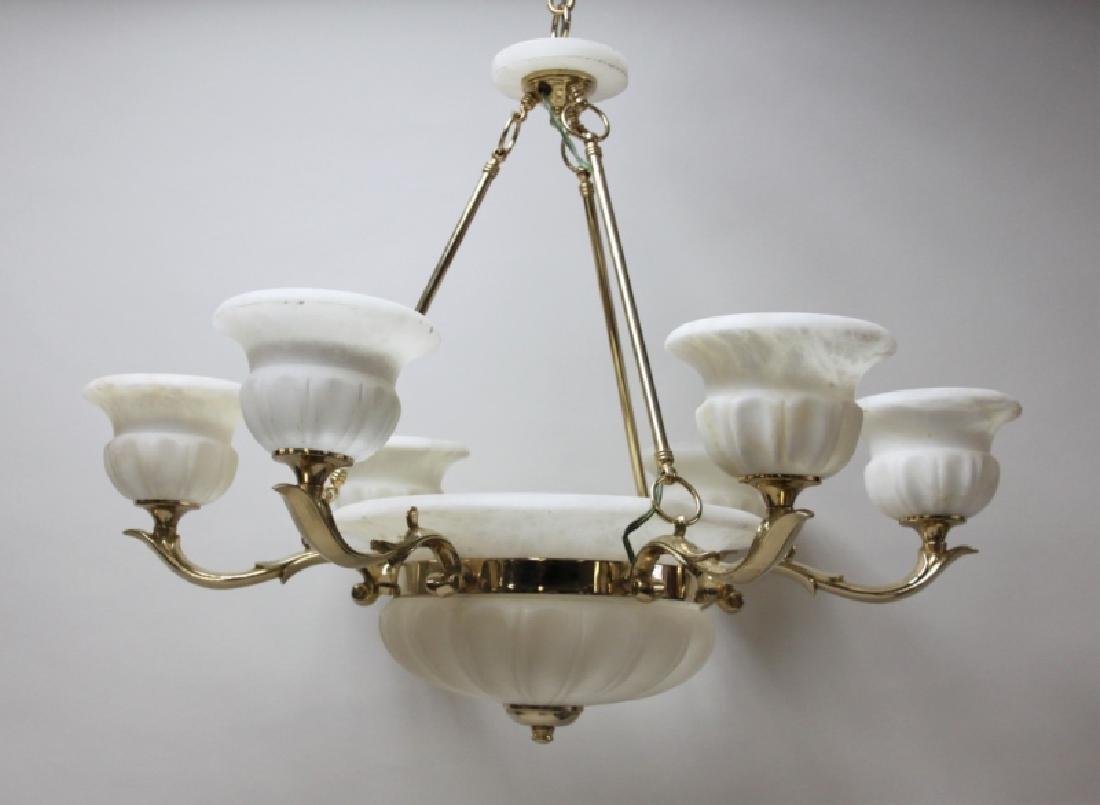 Art Deco Alabaster & Brass 5 Light Chandelier - 2