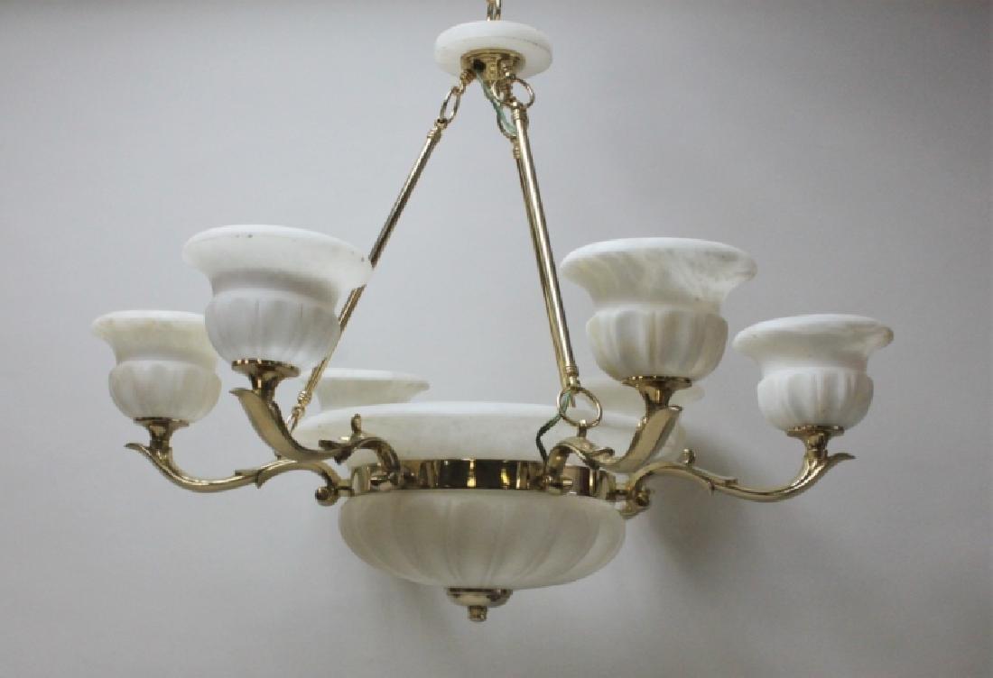 Art Deco Alabaster & Brass 5 Light Chandelier - 3