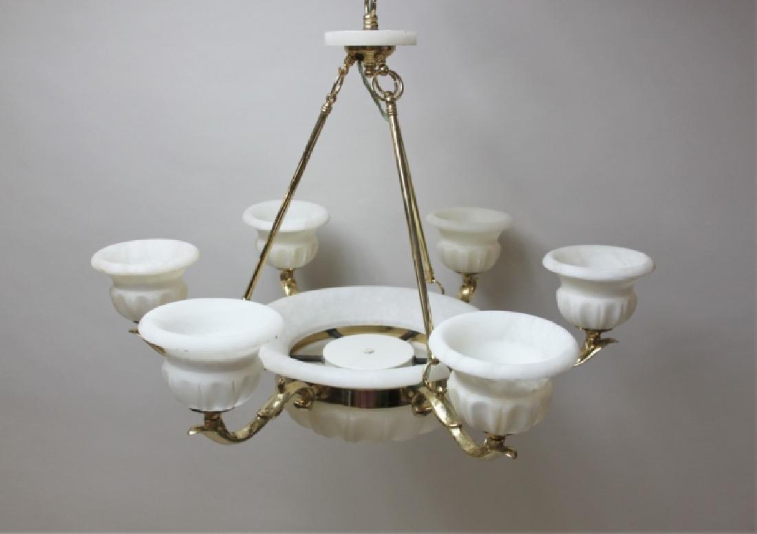 Art Deco Alabaster & Brass 5 Light Chandelier - 4