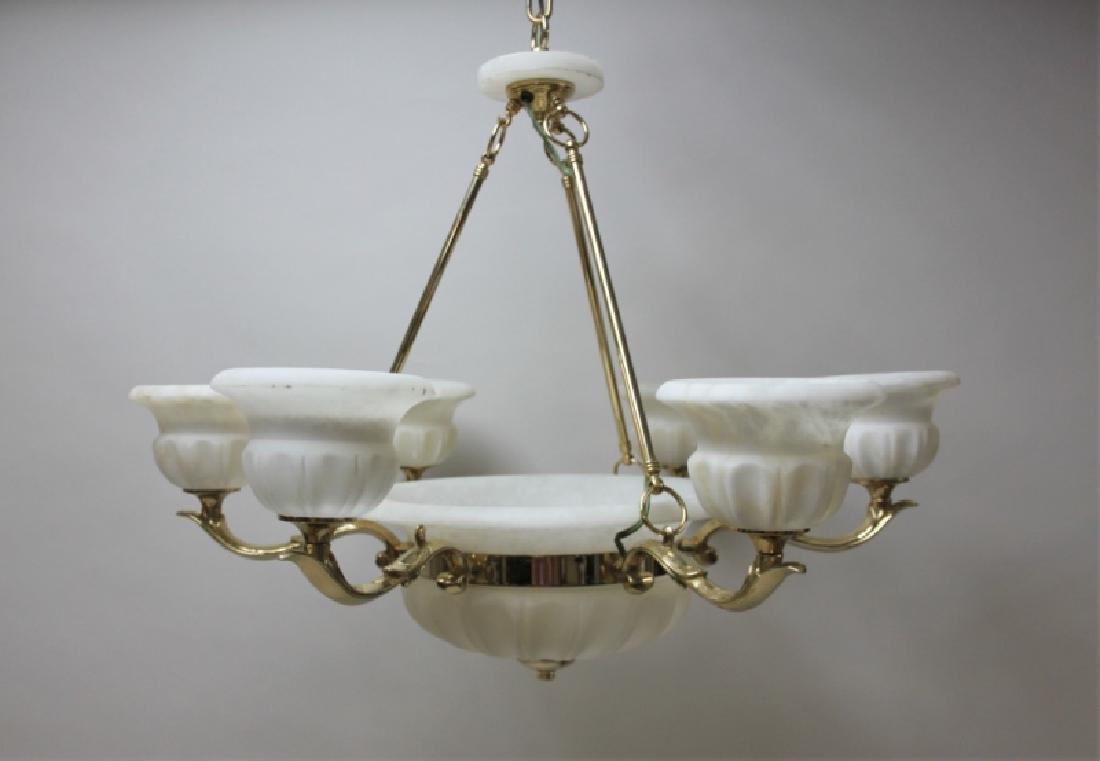 Art Deco Alabaster & Brass 5 Light Chandelier - 5