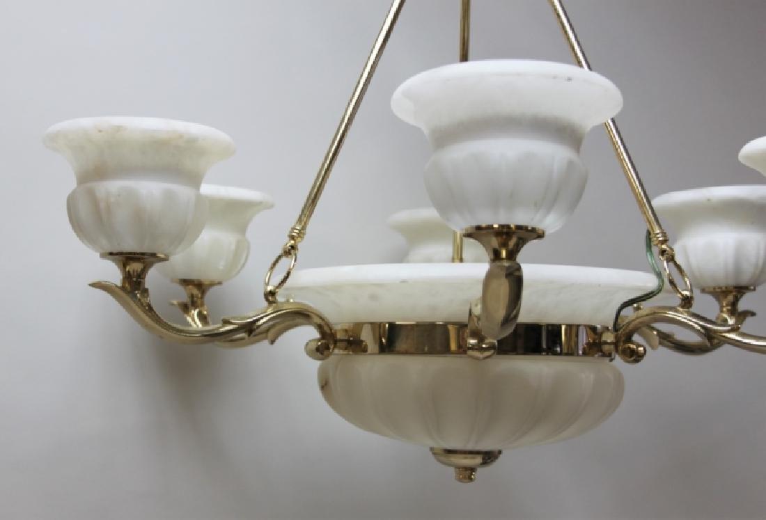 Art Deco Alabaster & Brass 5 Light Chandelier - 6
