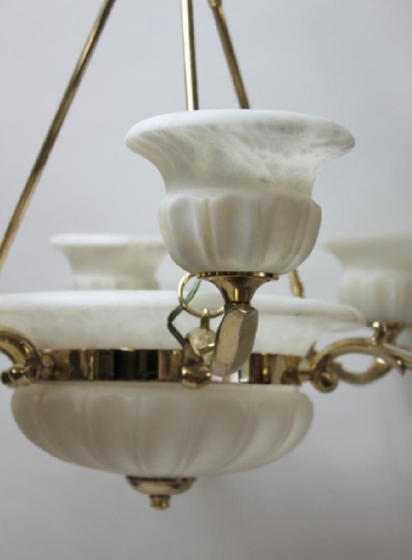 Art Deco Alabaster & Brass 5 Light Chandelier - 7