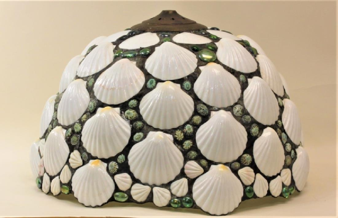 Vintage Shell & Glass Pebble Leaded Lamp Shade