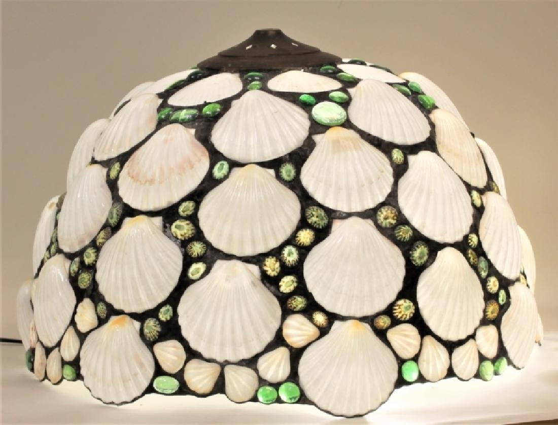 Vintage Shell & Glass Pebble Leaded Lamp Shade - 2