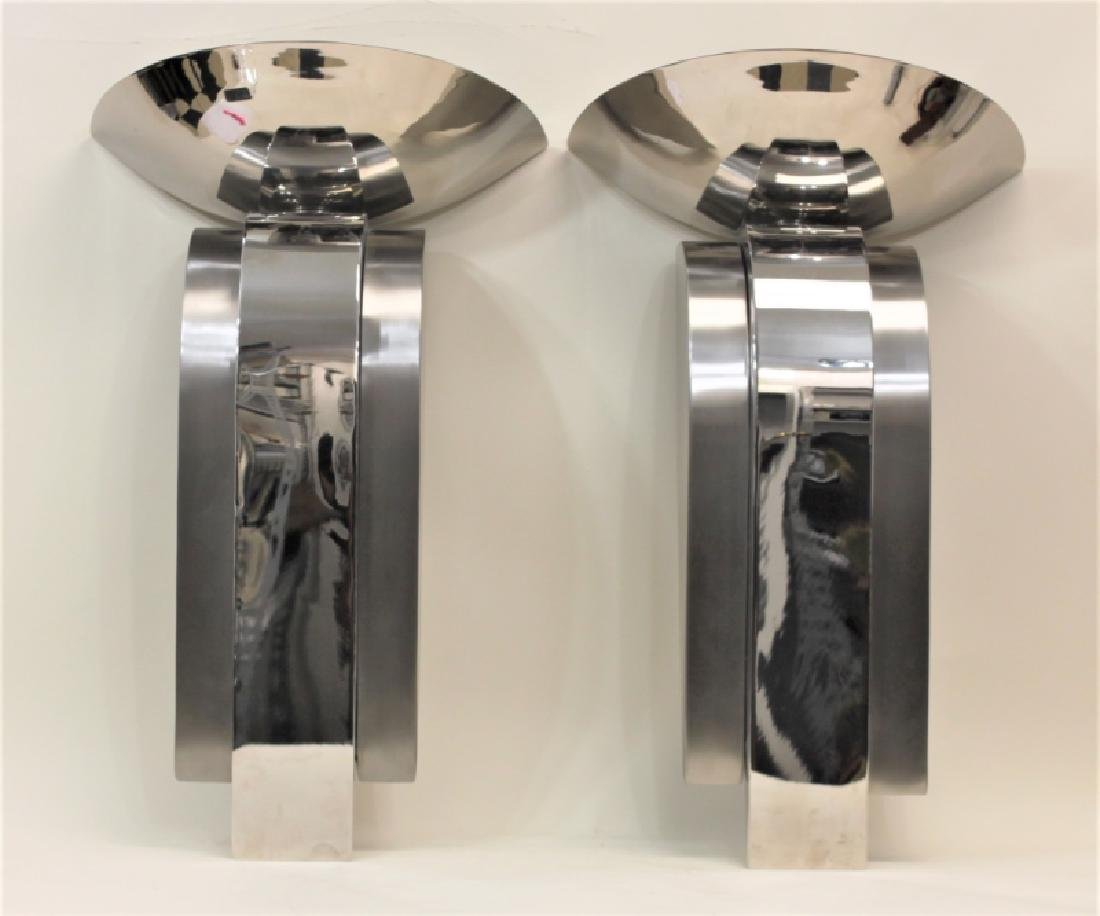 Pair Michael O, Stainless Art Deco Wall Sconces