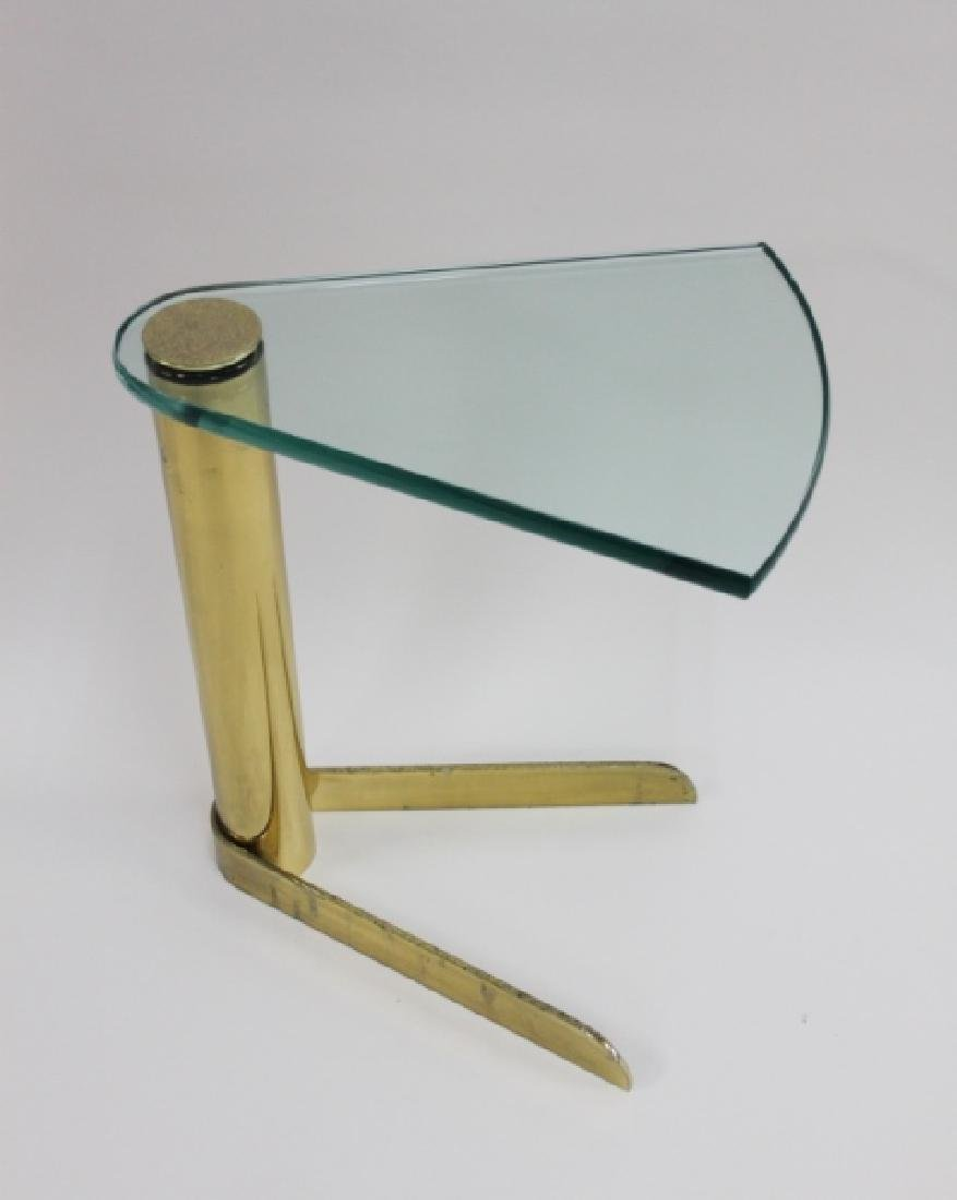 Pr 70's Pace Wedge Glass & Brass Occasional Tables - 4