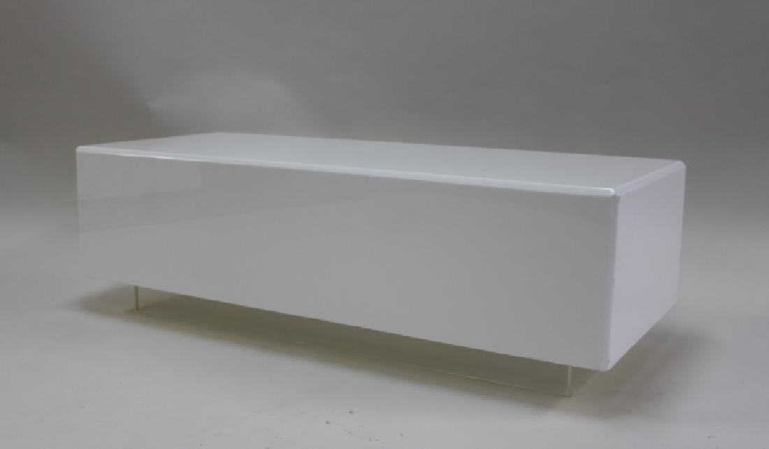 Vintage Floating White Lucite Cube Coffee Table
