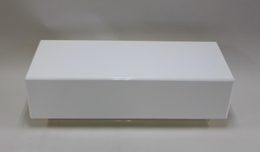 Vintage Floating White Lucite Cube Coffee Table - 3
