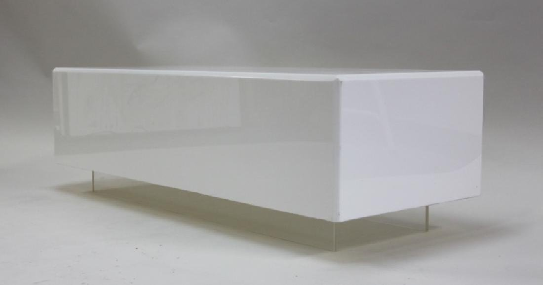 Vintage Floating White Lucite Cube Coffee Table - 4