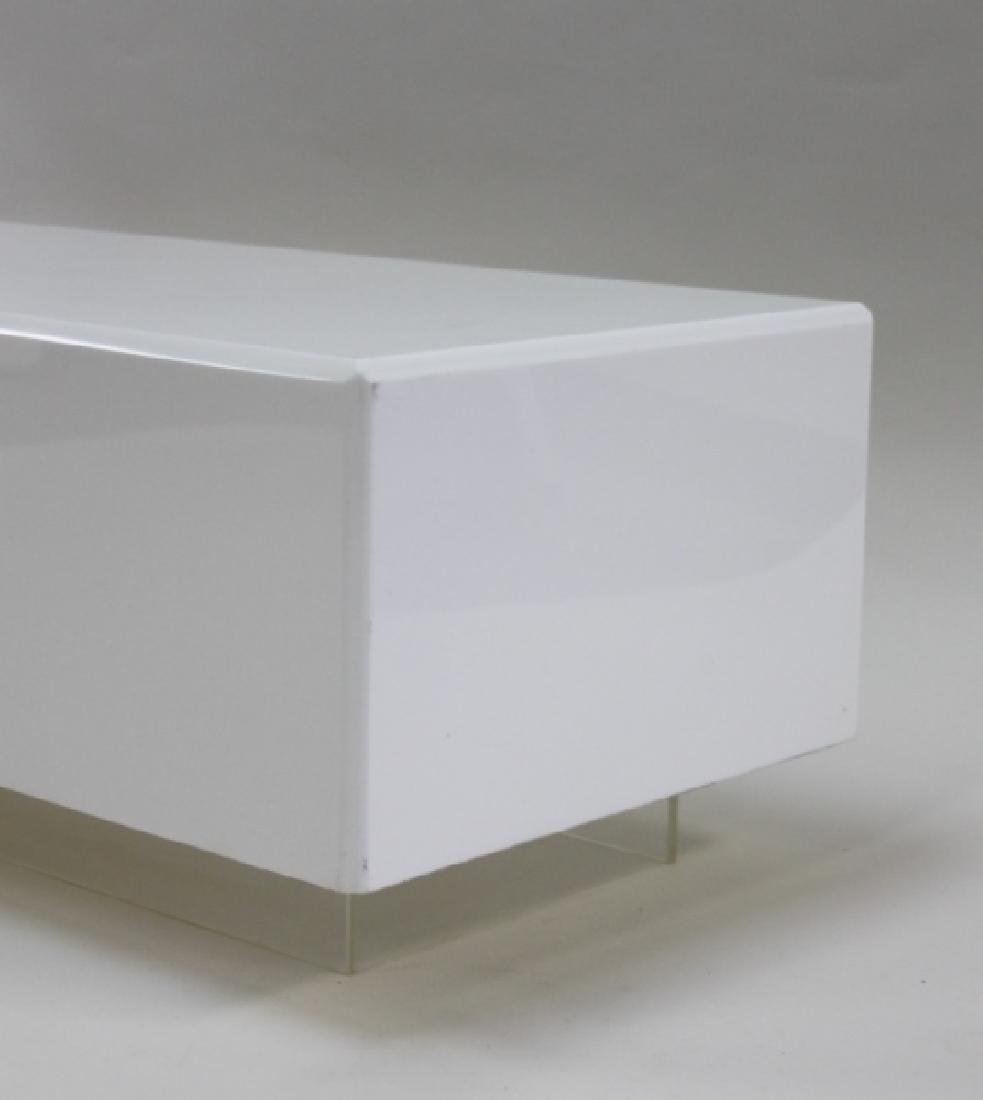 Vintage Floating White Lucite Cube Coffee Table - 5