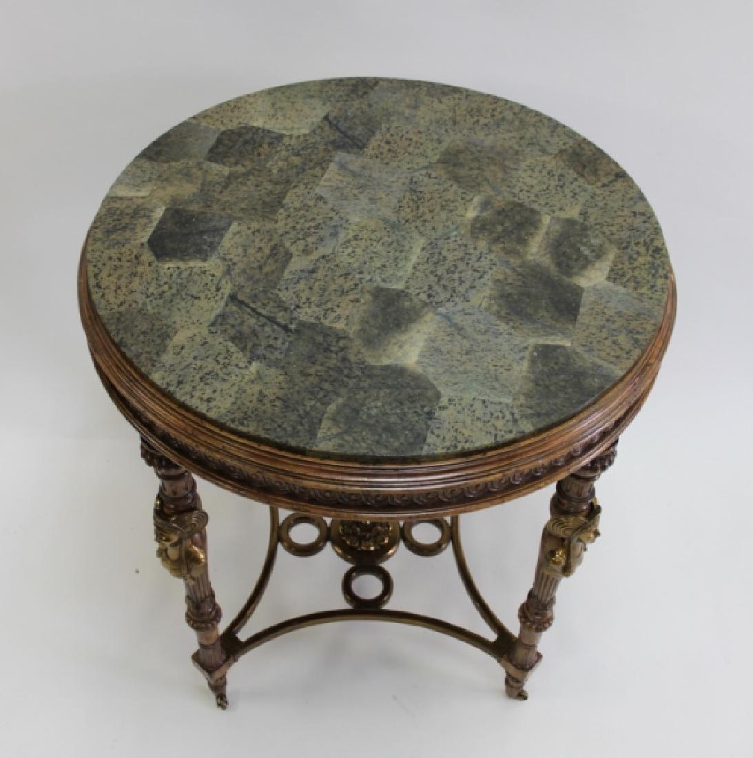 Maitland Smith Empire Marble, Wood & Bronze Table - 10