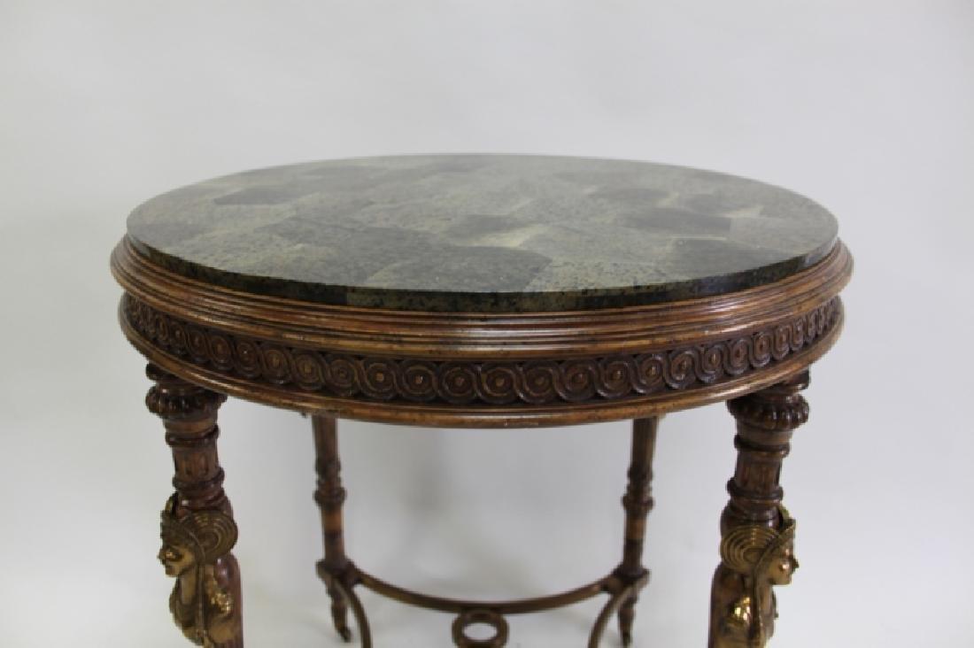 Maitland Smith Empire Marble, Wood & Bronze Table - 9