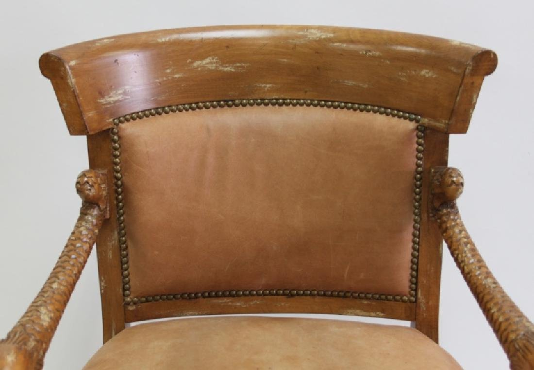 2-Hollywood Regency Leather Carved Dolphin Chairs - 10