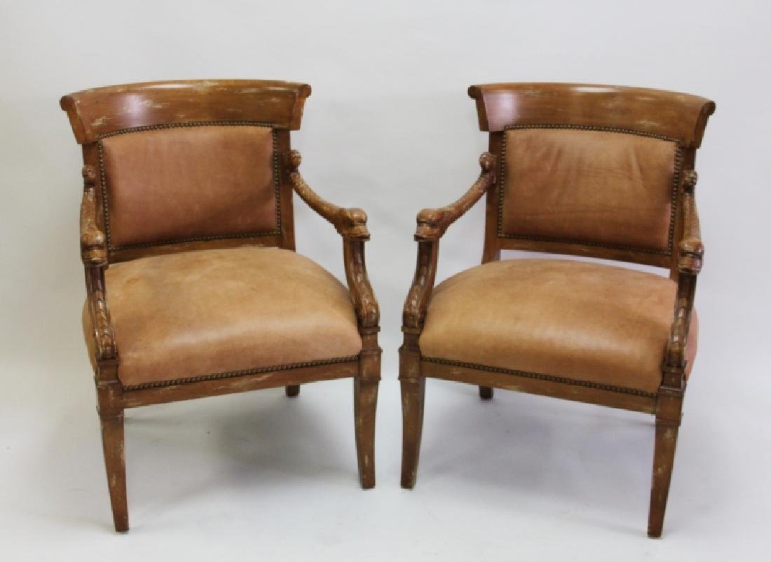 2-Hollywood Regency Leather Carved Dolphin Chairs
