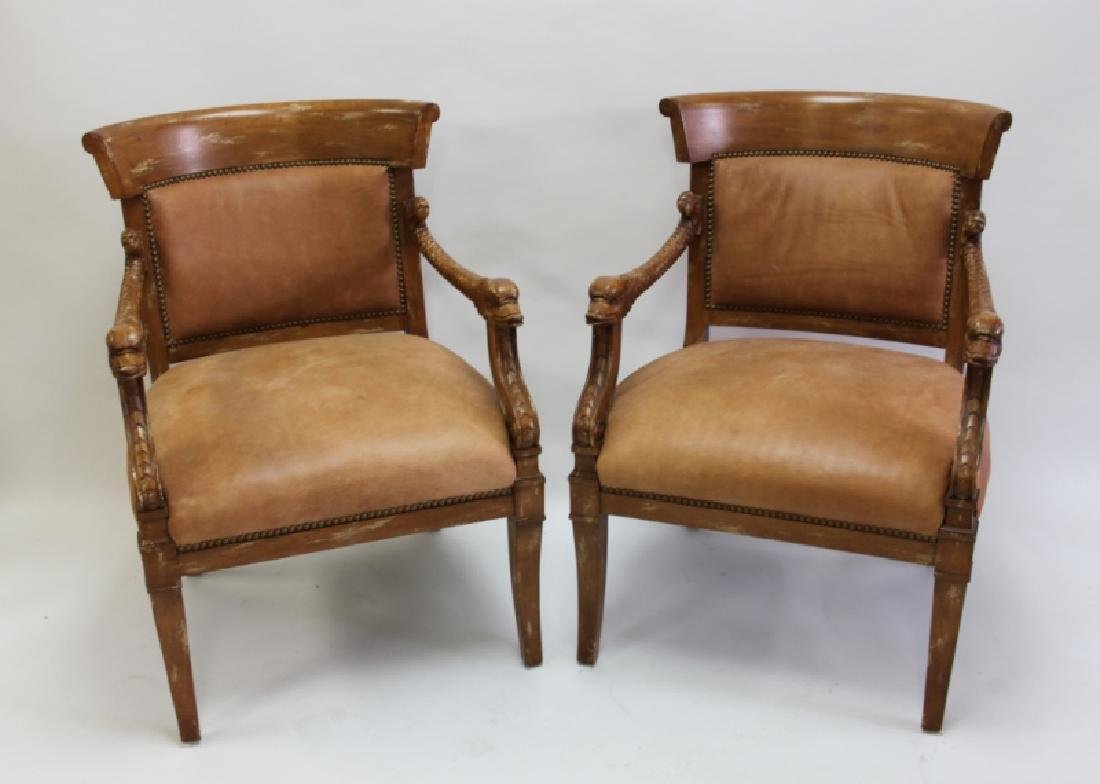 2-Hollywood Regency Leather Carved Dolphin Chairs - 2