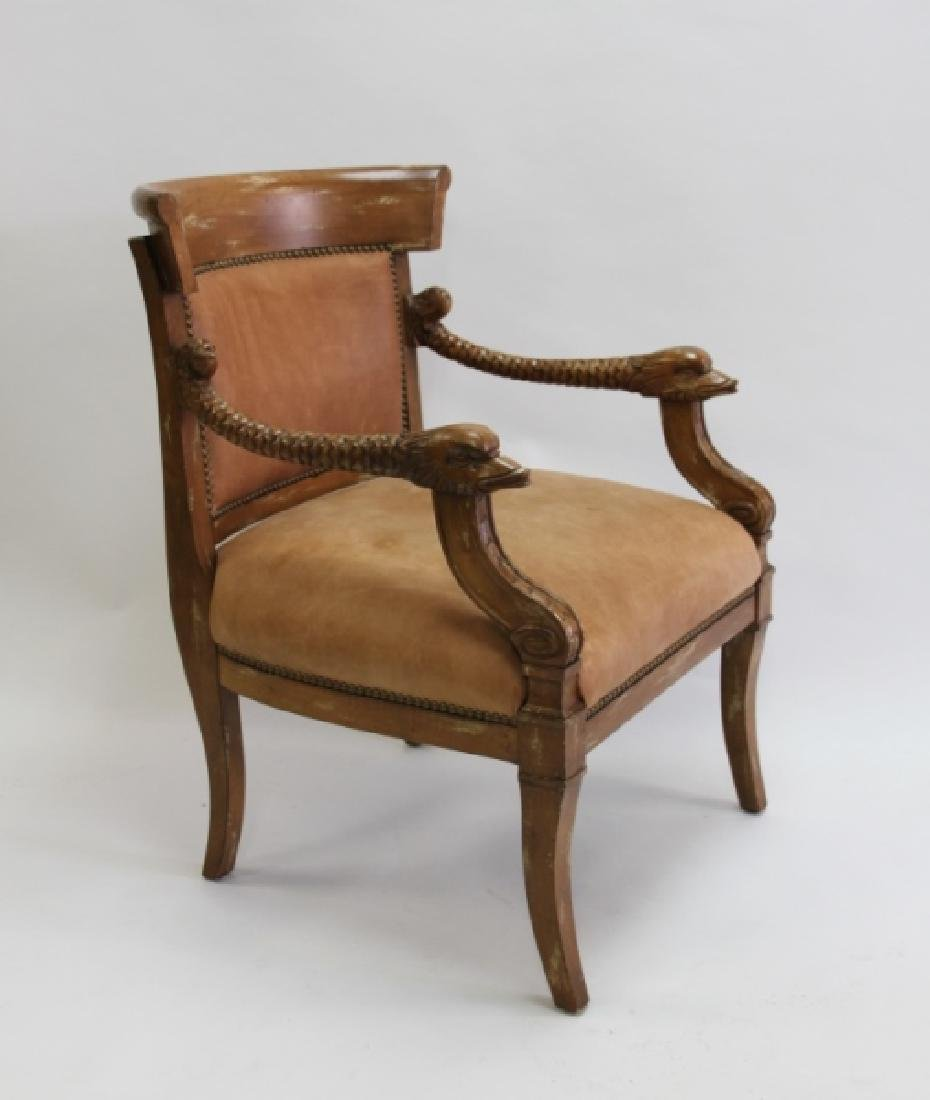 2-Hollywood Regency Leather Carved Dolphin Chairs - 3