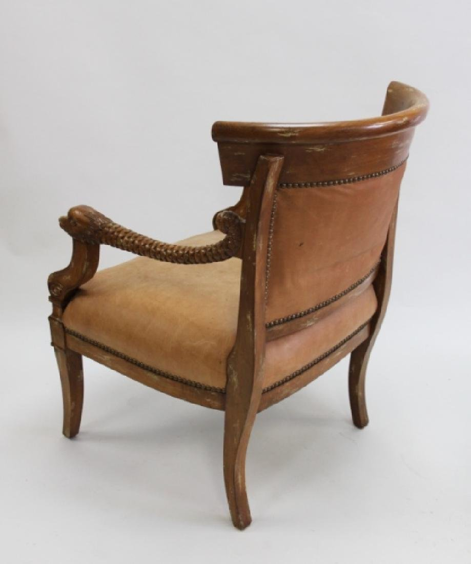 2-Hollywood Regency Leather Carved Dolphin Chairs - 5