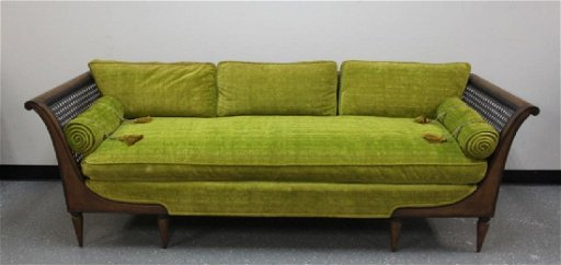 Mcm Hollywood Regency Cane Upholstered Sofa