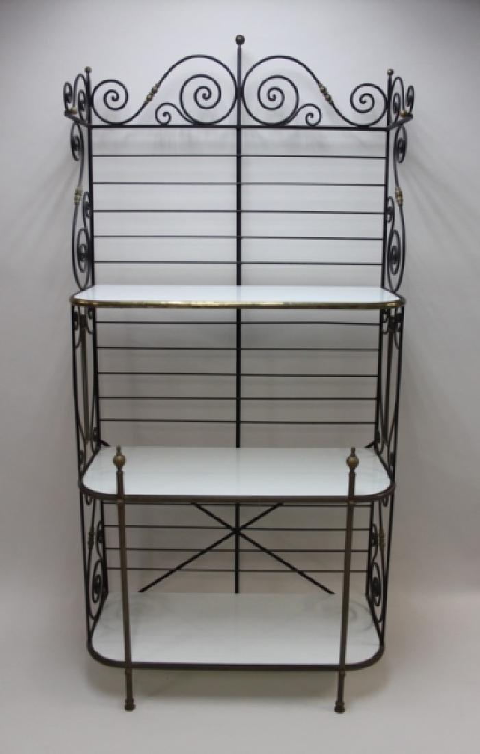 Iron & Brass Bakers Rack w White Glass Shelves