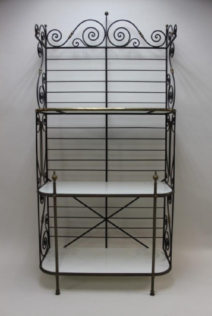 Iron & Brass Bakers Rack w White Glass Shelves - 2