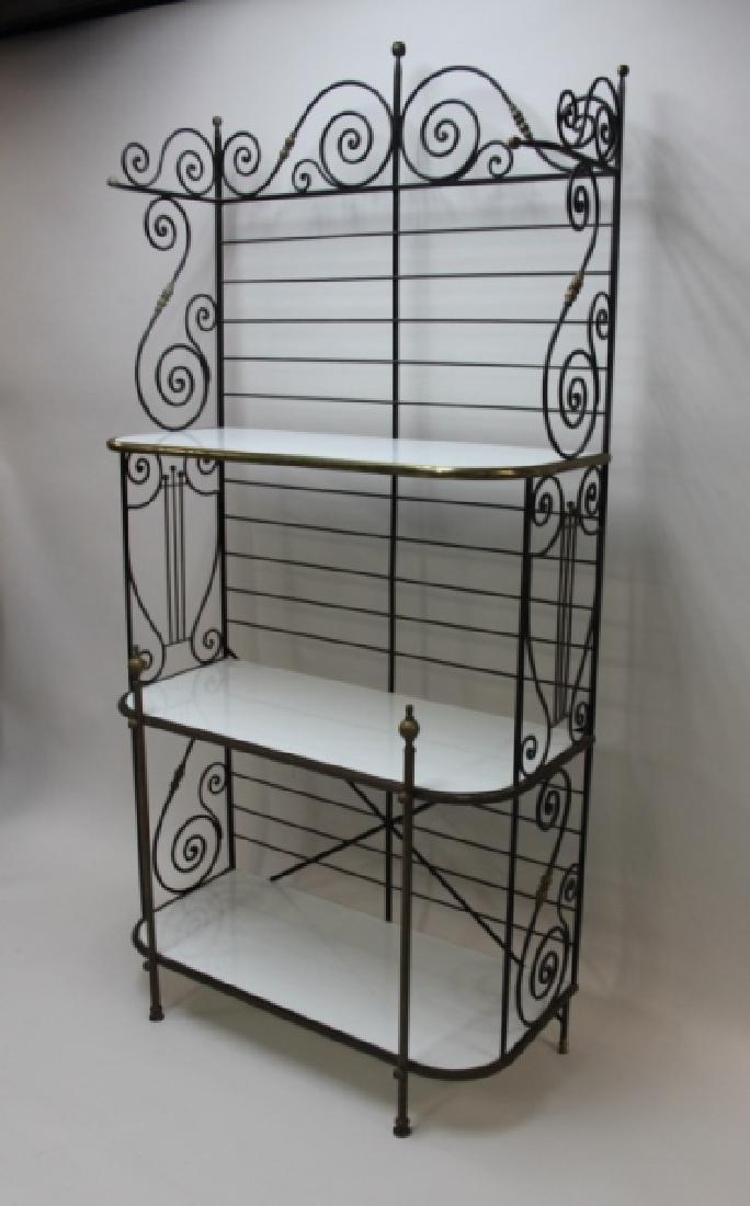 Iron & Brass Bakers Rack w White Glass Shelves - 3