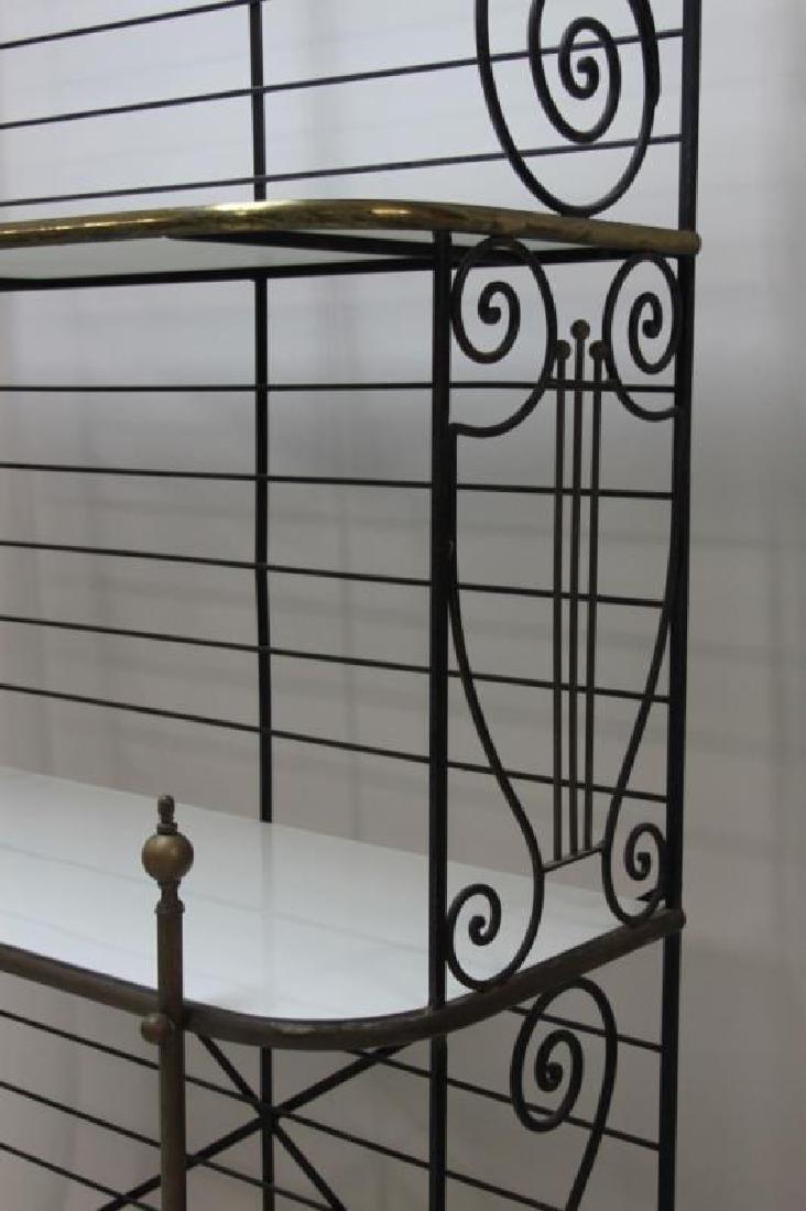 Iron & Brass Bakers Rack w White Glass Shelves - 4
