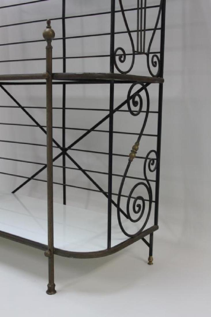 Iron & Brass Bakers Rack w White Glass Shelves - 5
