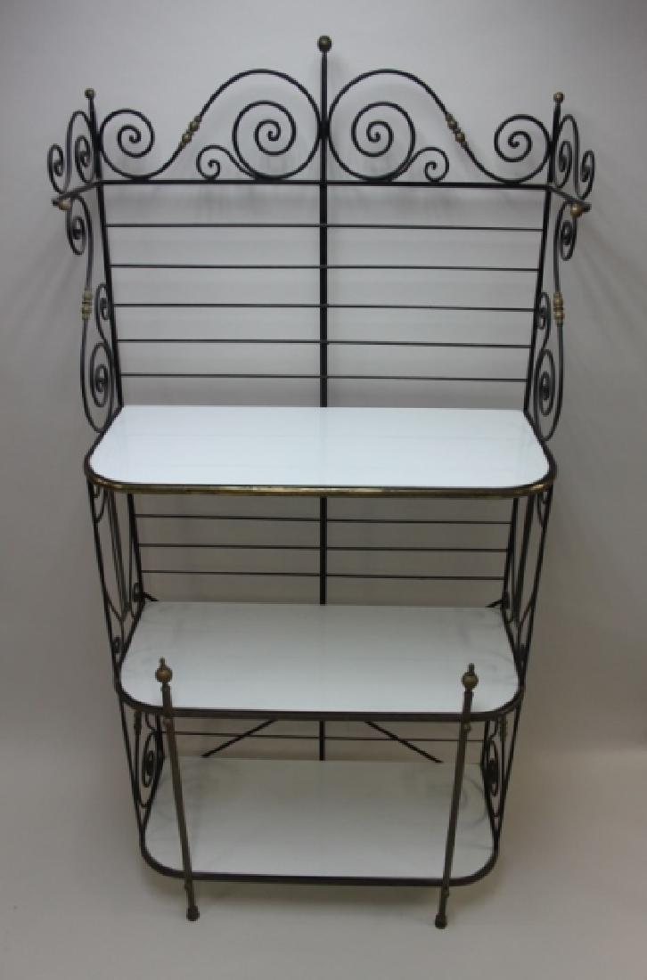 Iron & Brass Bakers Rack w White Glass Shelves - 6