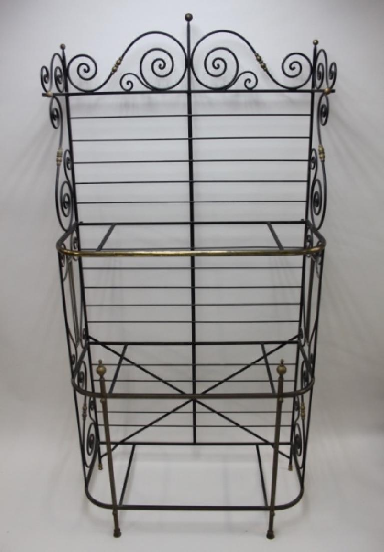 Iron & Brass Bakers Rack w White Glass Shelves - 7