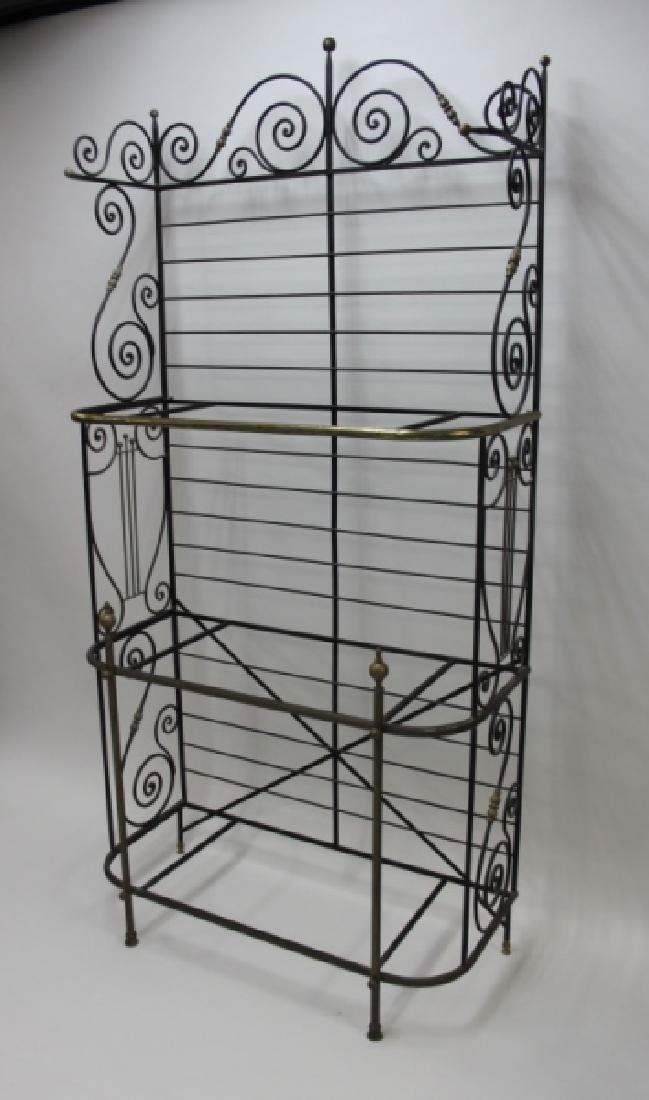 Iron & Brass Bakers Rack w White Glass Shelves - 8