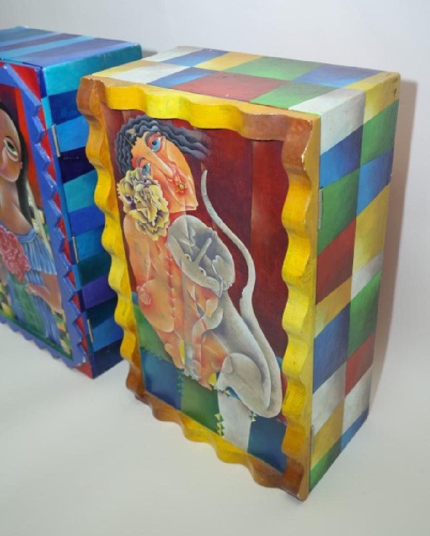 (2) Marcela Cortes Cubist Painted Wall Cabinets - 4
