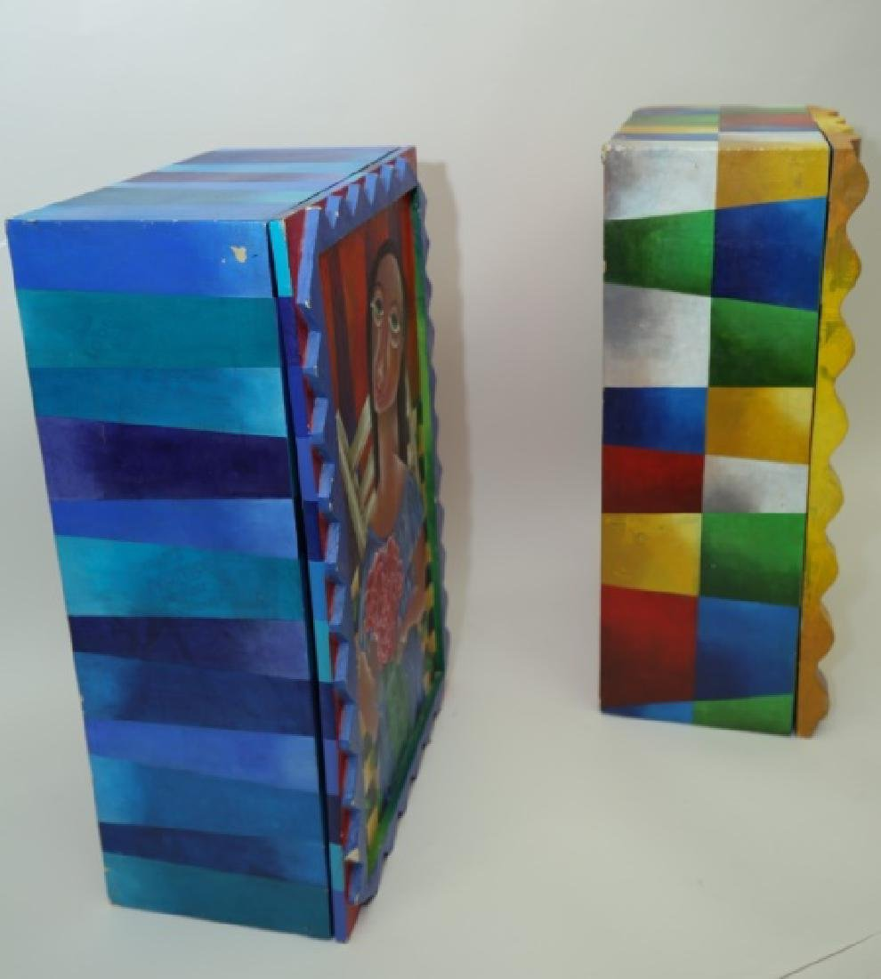(2) Marcela Cortes Cubist Painted Wall Cabinets - 7