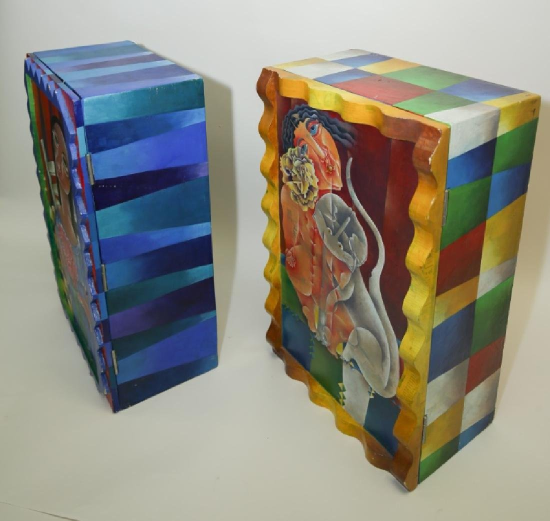 (2) Marcela Cortes Cubist Painted Wall Cabinets - 8