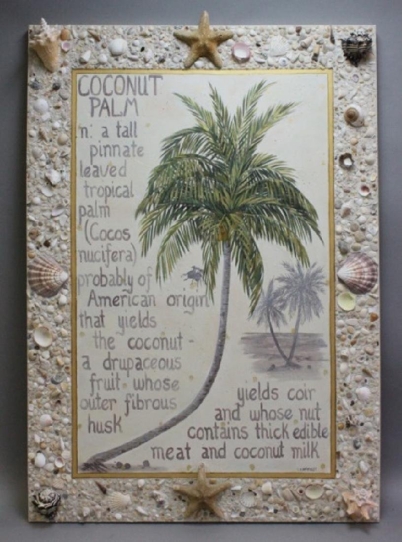 C.K. Mckinley Oil /Canvas Coconut Palm Shell Frame