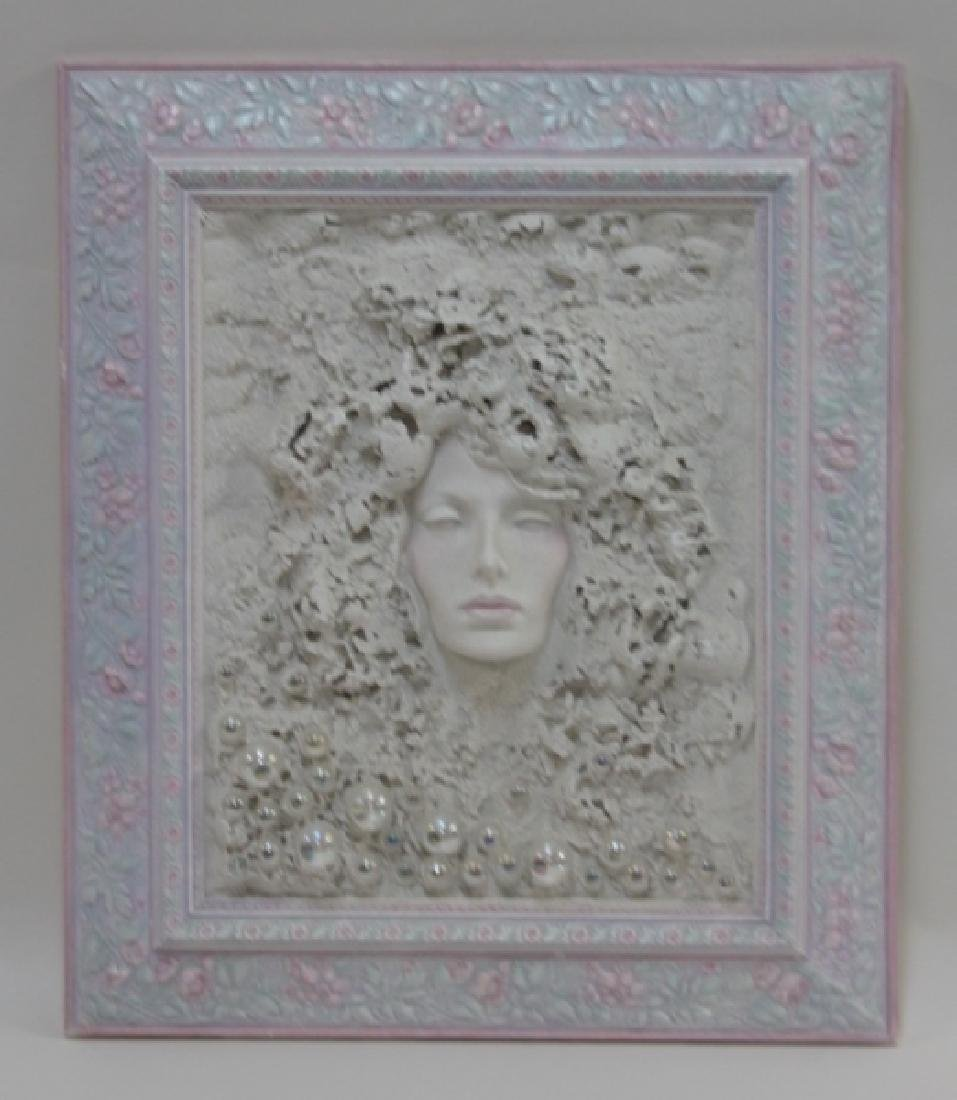 1980's Female Portrait Mixed Media Wall Sculpture