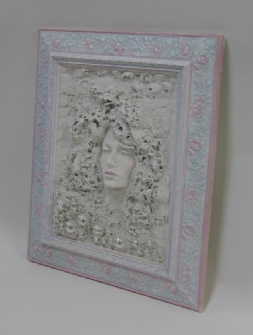 1980's Female Portrait Mixed Media Wall Sculpture - 2