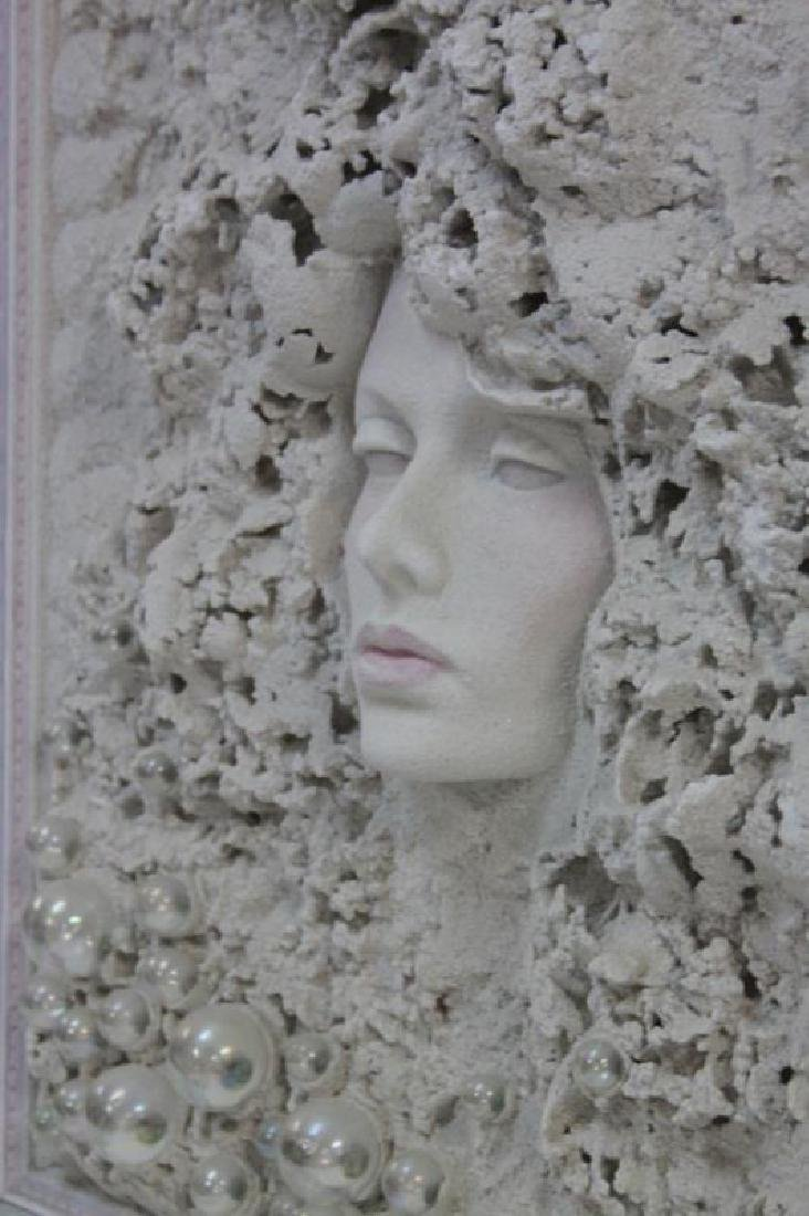 1980's Female Portrait Mixed Media Wall Sculpture - 3